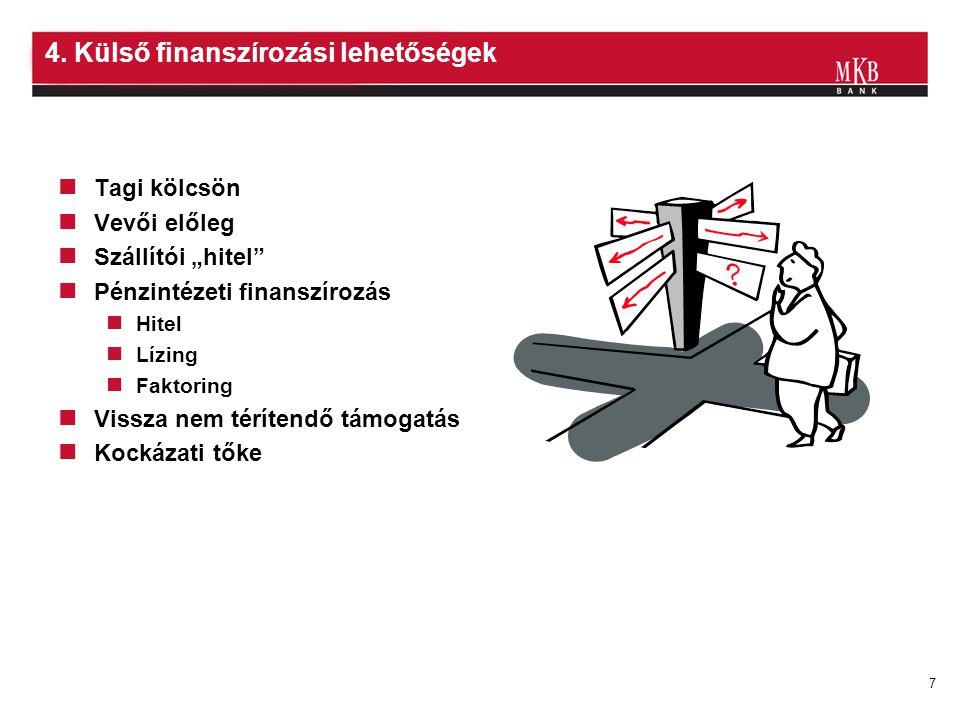 4. Külső finanszírozási lehetőségek