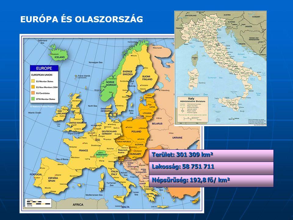 EURÓPA ÉS OLASZORSZÁG Terület: 301 309 km² Lakosság: 58 751 711