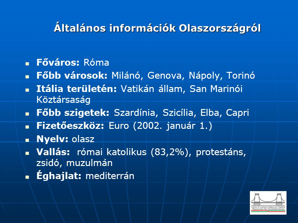 Általános információk Olaszországról