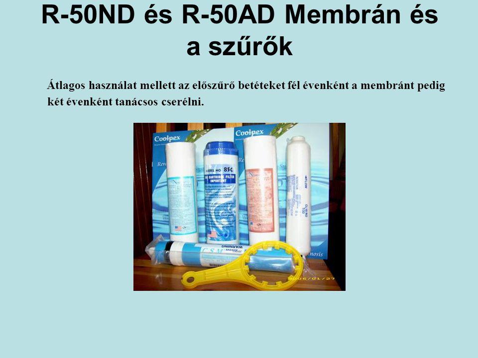 R-50ND és R-50AD Membrán és a szűrők