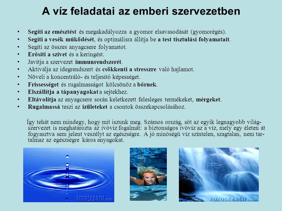 A víz feladatai az emberi szervezetben