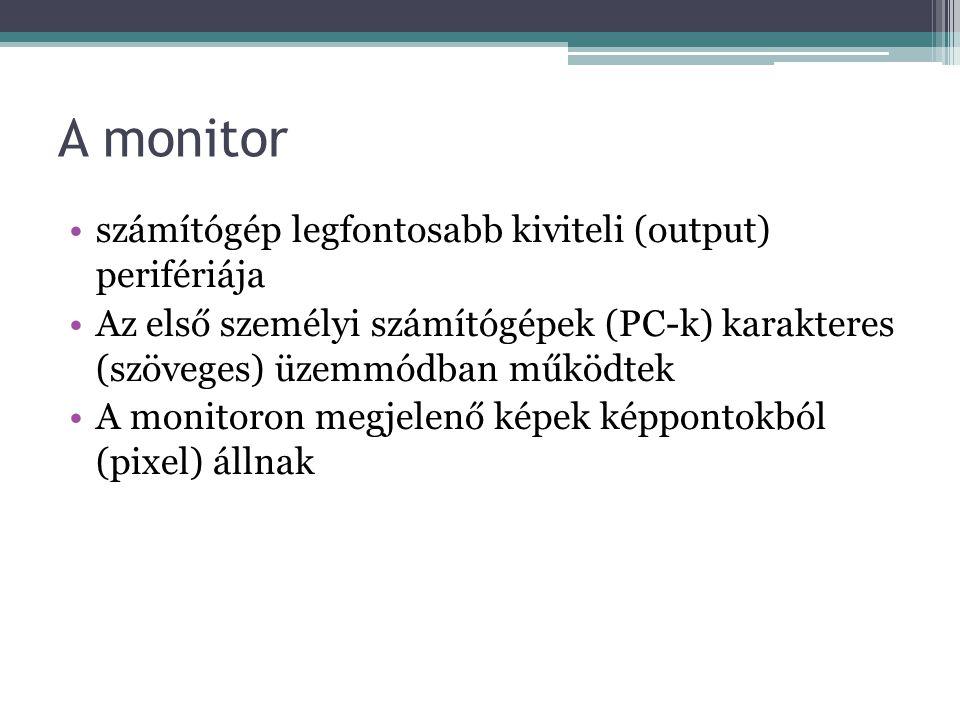 A monitor számítógép legfontosabb kiviteli (output) perifériája