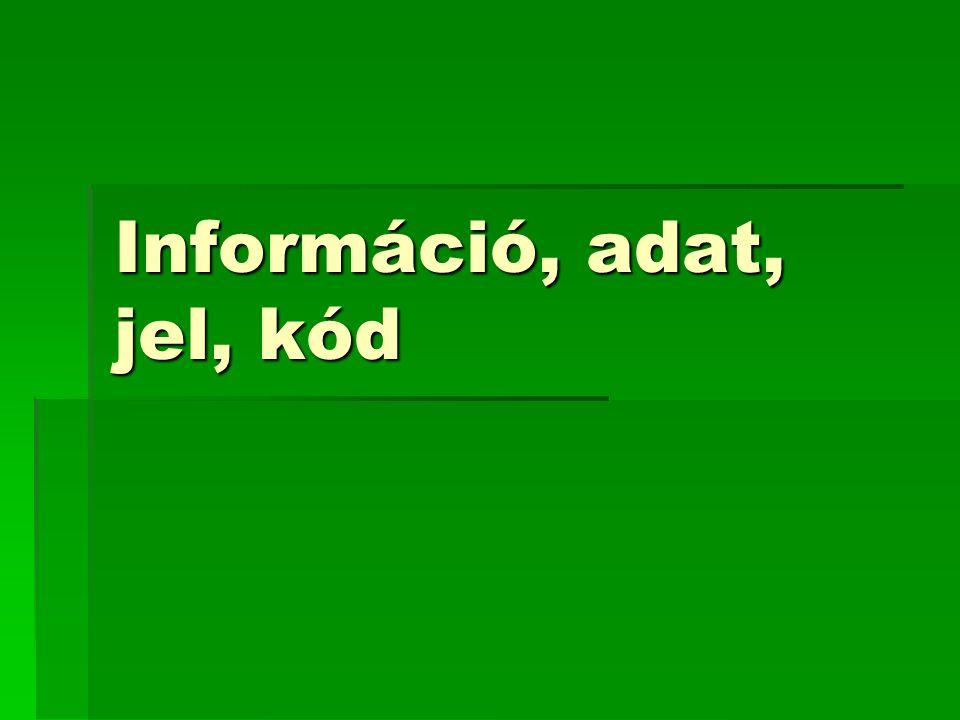 Információ, adat, jel, kód