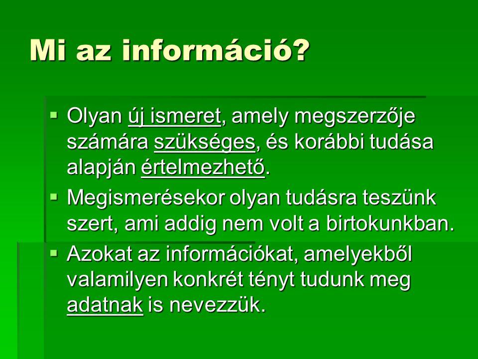 Mi az információ Olyan új ismeret, amely megszerzője számára szükséges, és korábbi tudása alapján értelmezhető.