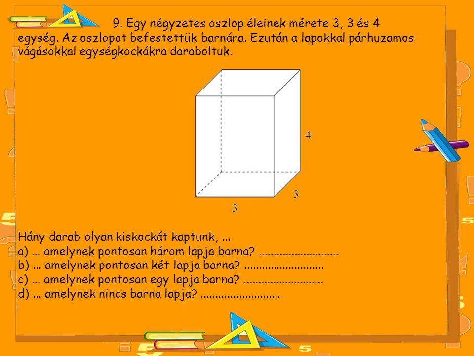 9. Egy négyzetes oszlop éleinek mérete 3, 3 és 4 egység