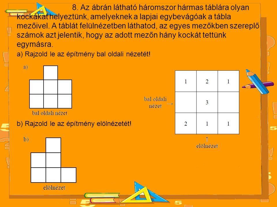 8. Az ábrán látható háromszor hármas táblára olyan kockákat helyeztünk, amelyeknek a lapjai egybevágóak a tábla mezőivel. A táblát felülnézetben láthatod, az egyes mezőkben szereplő számok azt jelentik, hogy az adott mezőn hány kockát tettünk egymásra.