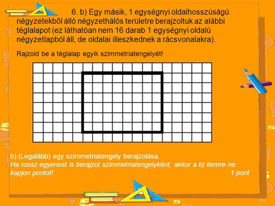 6. b) Egy másik, 1 egységnyi oldalhosszúságú négyzetekből álló négyzethálós területre berajzoltuk az alábbi téglalapot (ez láthatóan nem 16 darab 1 egységnyi oldalú négyzetlapból áll, de oldalai illeszkednek a rácsvonalakra).
