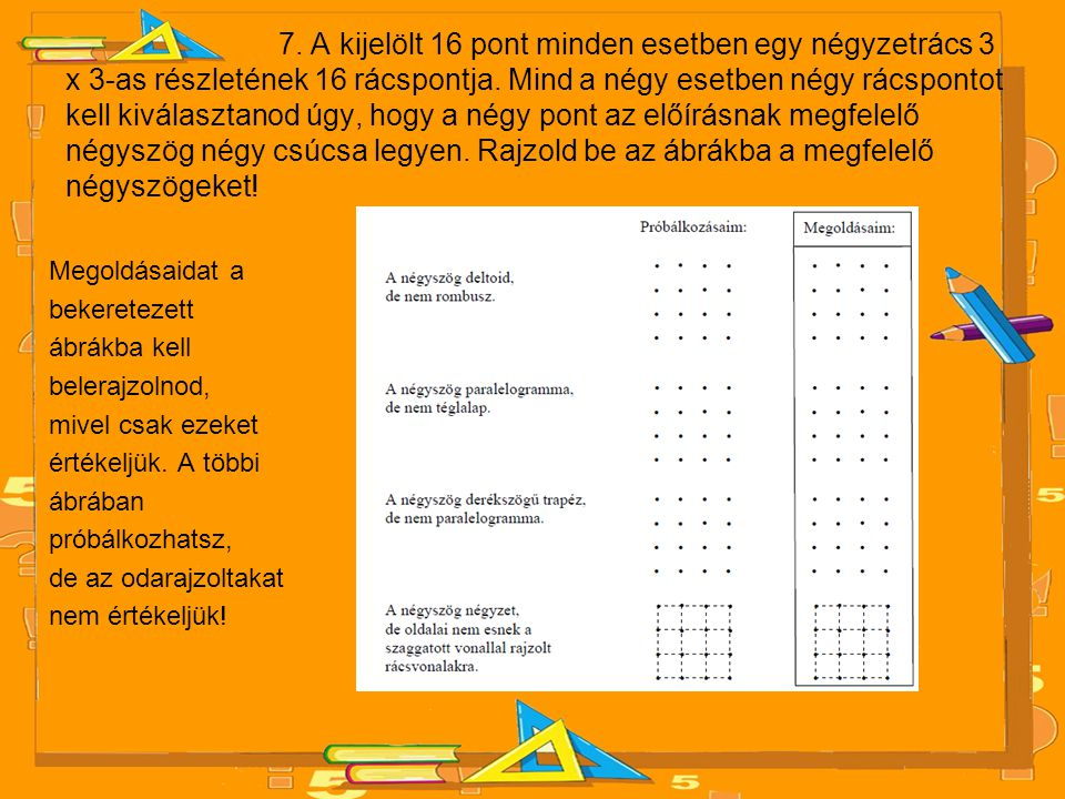 7. A kijelölt 16 pont minden esetben egy négyzetrács 3 x 3-as részletének 16 rácspontja. Mind a négy esetben négy rácspontot kell kiválasztanod úgy, hogy a négy pont az előírásnak megfelelő négyszög négy csúcsa legyen. Rajzold be az ábrákba a megfelelő négyszögeket!