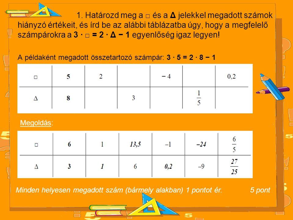 1. Határozd meg a □ és a Δ jelekkel megadott számok hiányzó értékeit, és írd be az alábbi táblázatba úgy, hogy a megfelelő számpárokra a 3 · □ = 2 · Δ − 1 egyenlőség igaz legyen!