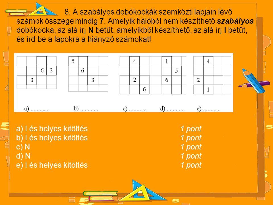 8. A szabályos dobókockák szemközti lapjain lévő számok összege mindig 7. Amelyik hálóból nem készíthető szabályos dobókocka, az alá írj N betűt, amelyikből készíthető, az alá írj I betűt, és írd be a lapokra a hiányzó számokat!