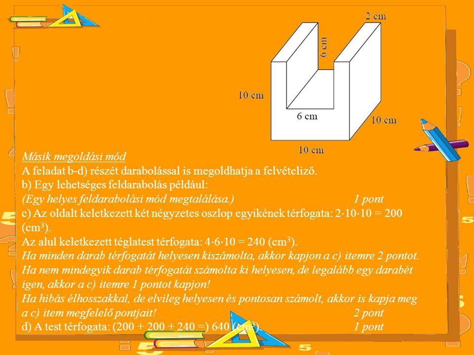 Másik megoldási mód A feladat b-d) részét darabolással is megoldhatja a felvételiző. b) Egy lehetséges feldarabolás például: