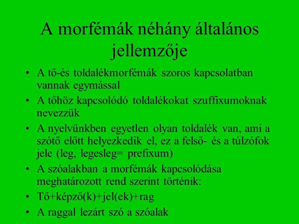A morfémák néhány általános jellemzője