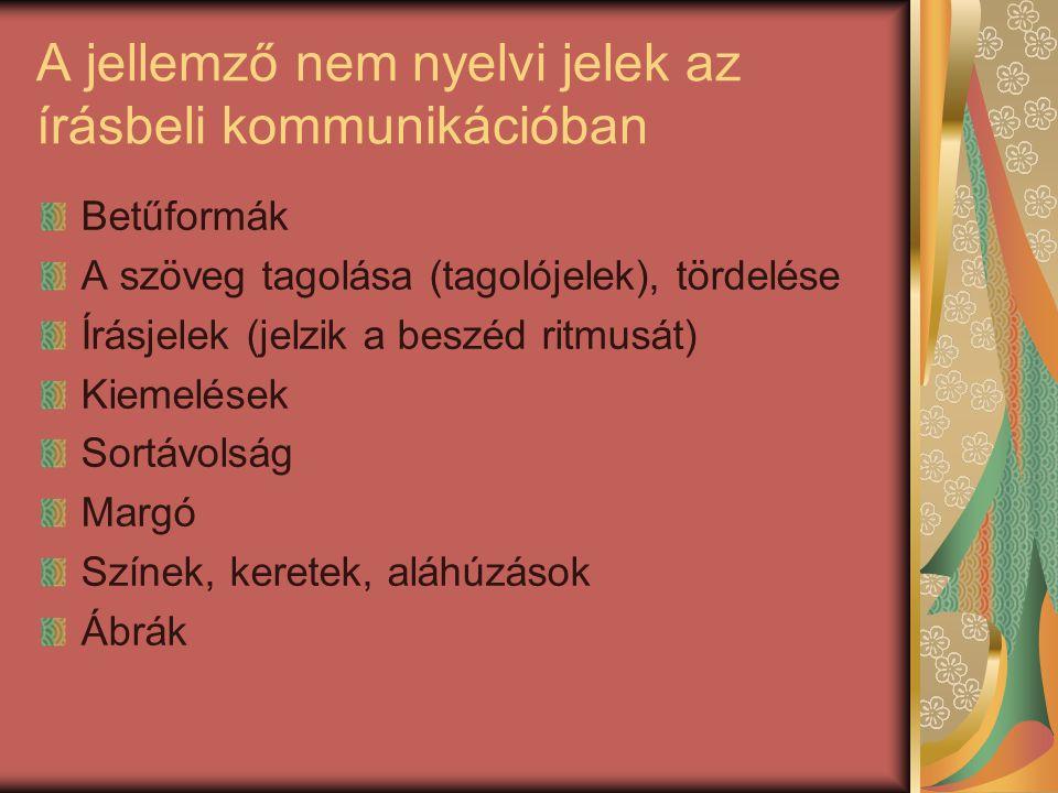 A jellemző nem nyelvi jelek az írásbeli kommunikációban