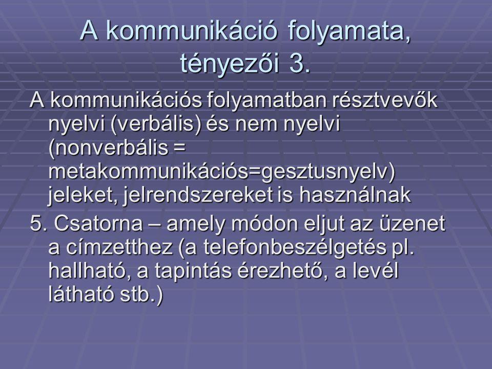 A kommunikáció folyamata, tényezői 3.
