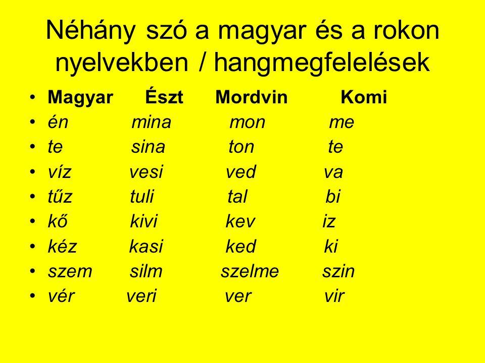 Néhány szó a magyar és a rokon nyelvekben / hangmegfelelések