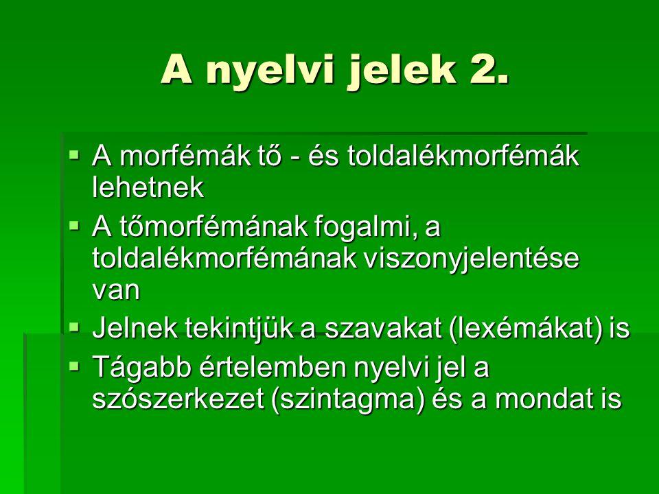 A nyelvi jelek 2. A morfémák tő - és toldalékmorfémák lehetnek