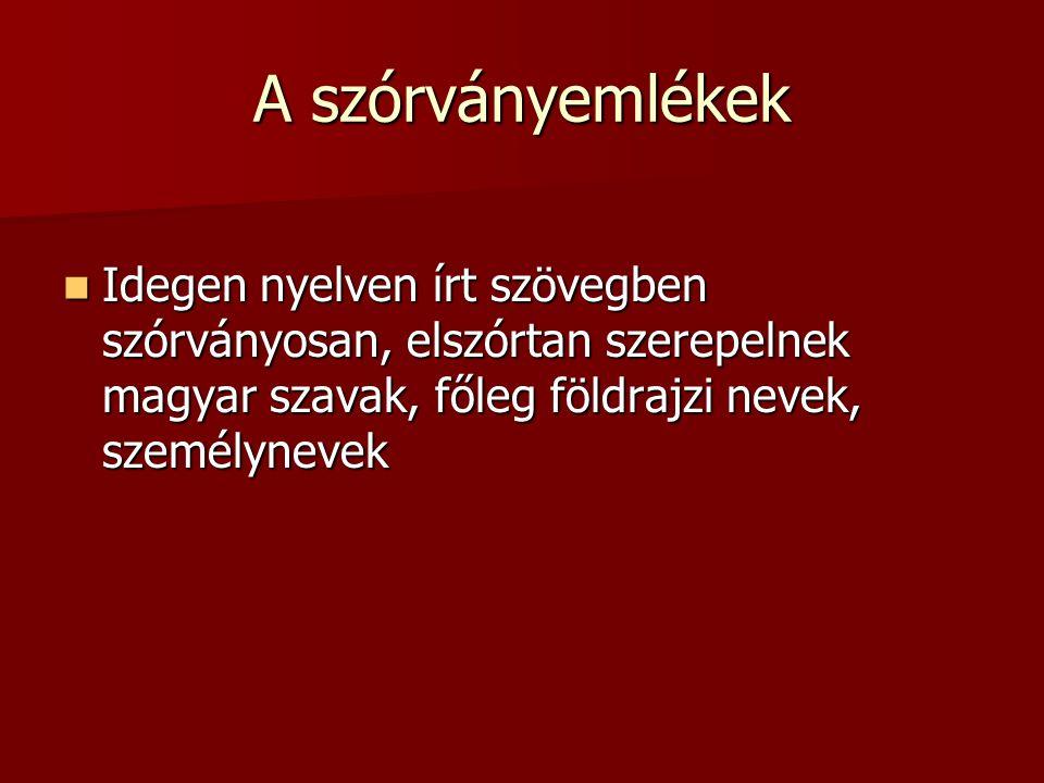 A szórványemlékek Idegen nyelven írt szövegben szórványosan, elszórtan szerepelnek magyar szavak, főleg földrajzi nevek, személynevek.