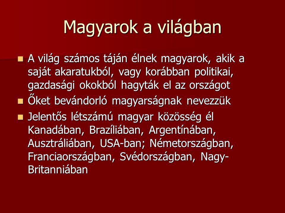 Magyarok a világban A világ számos táján élnek magyarok, akik a saját akaratukból, vagy korábban politikai, gazdasági okokból hagyták el az országot.