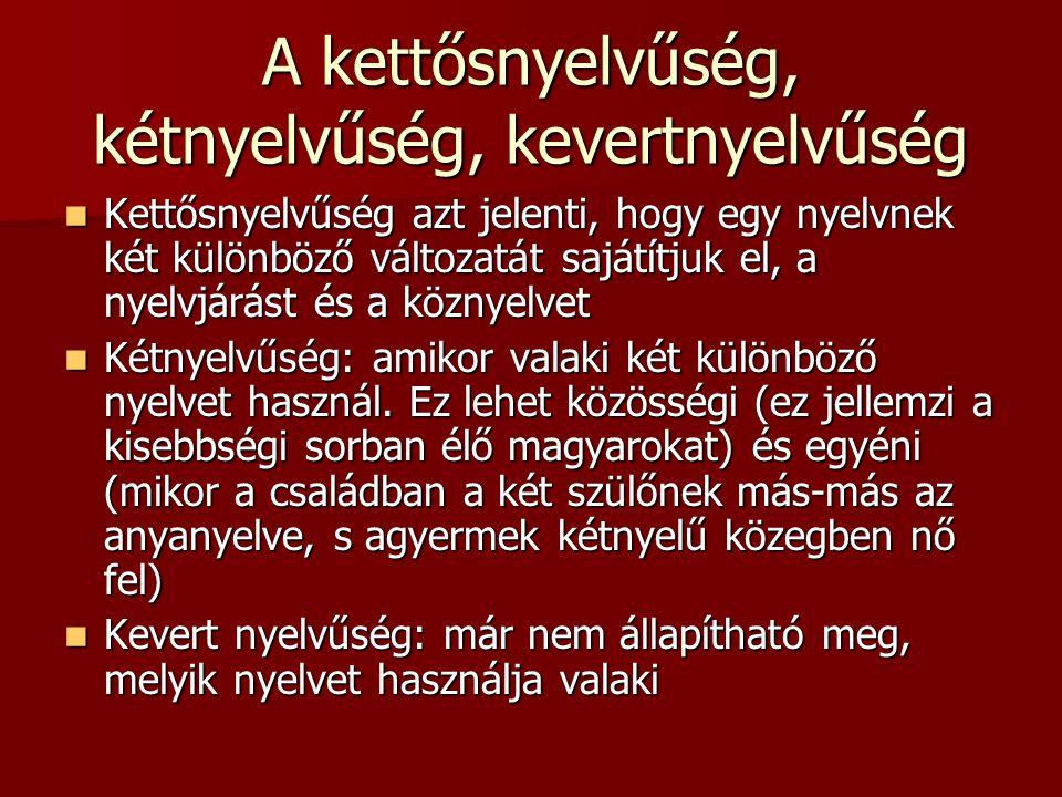 A kettősnyelvűség, kétnyelvűség, kevertnyelvűség