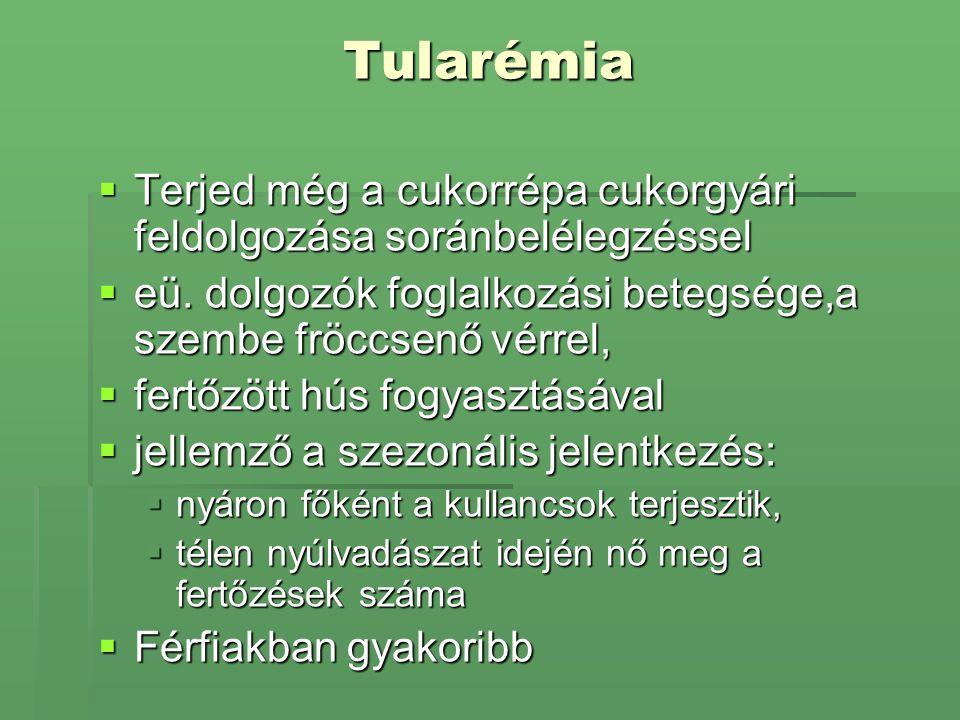 Tularémia Terjed még a cukorrépa cukorgyári feldolgozása soránbelélegzéssel. eü. dolgozók foglalkozási betegsége,a szembe fröccsenő vérrel,