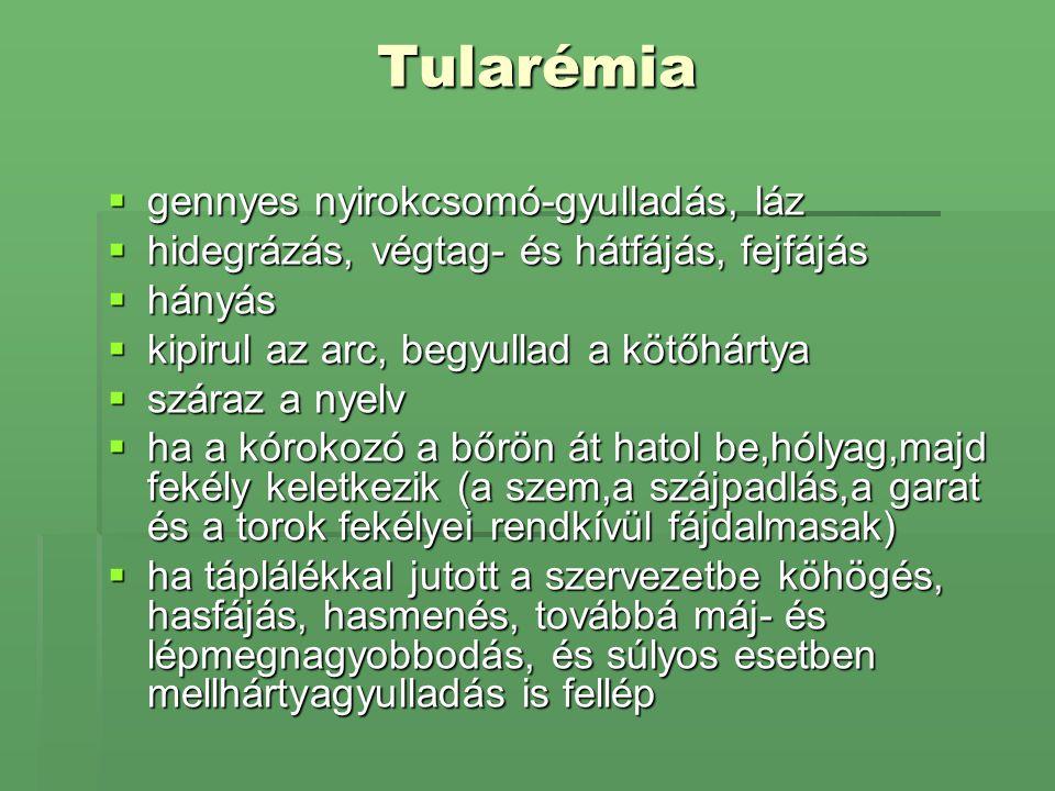 Tularémia gennyes nyirokcsomó-gyulladás, láz