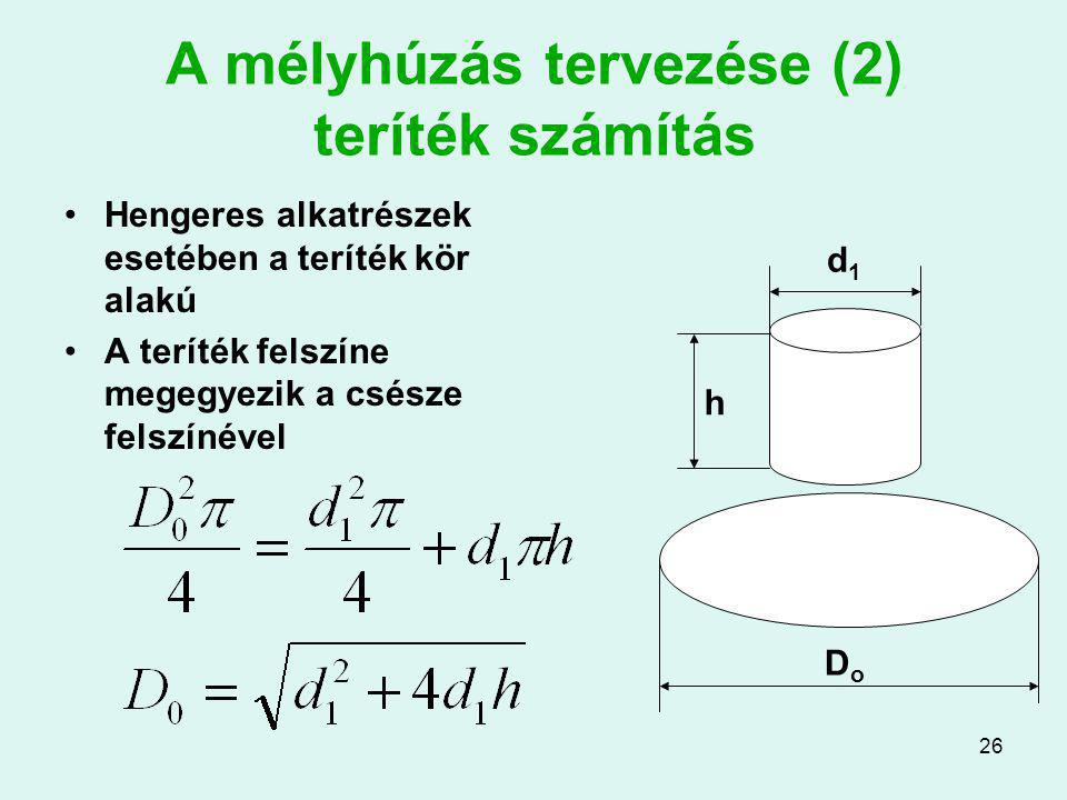 A mélyhúzás tervezése (2) teríték számítás