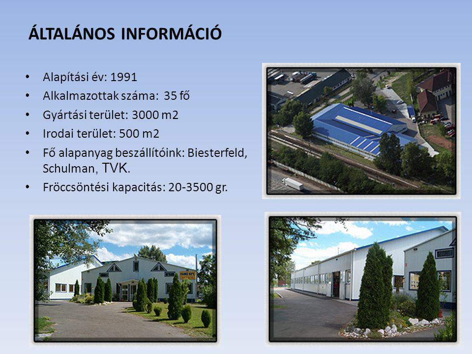 ÁLTALÁNOS INFORMÁCIÓ Alapítási év: 1991 Alkalmazottak száma: 35 fő