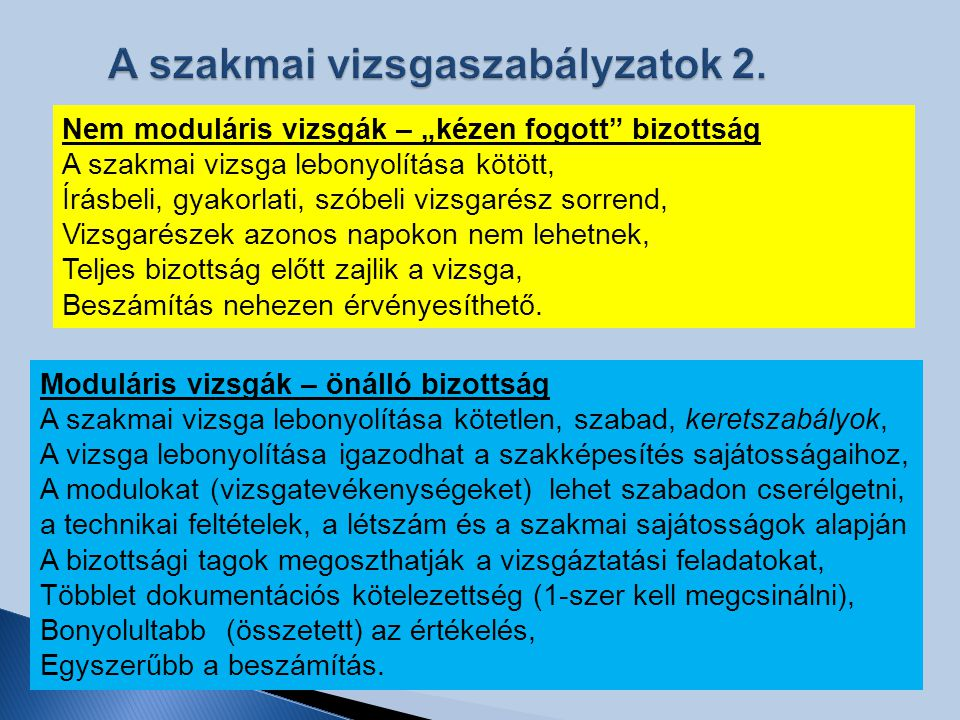 A szakmai vizsgaszabályzatok 2.