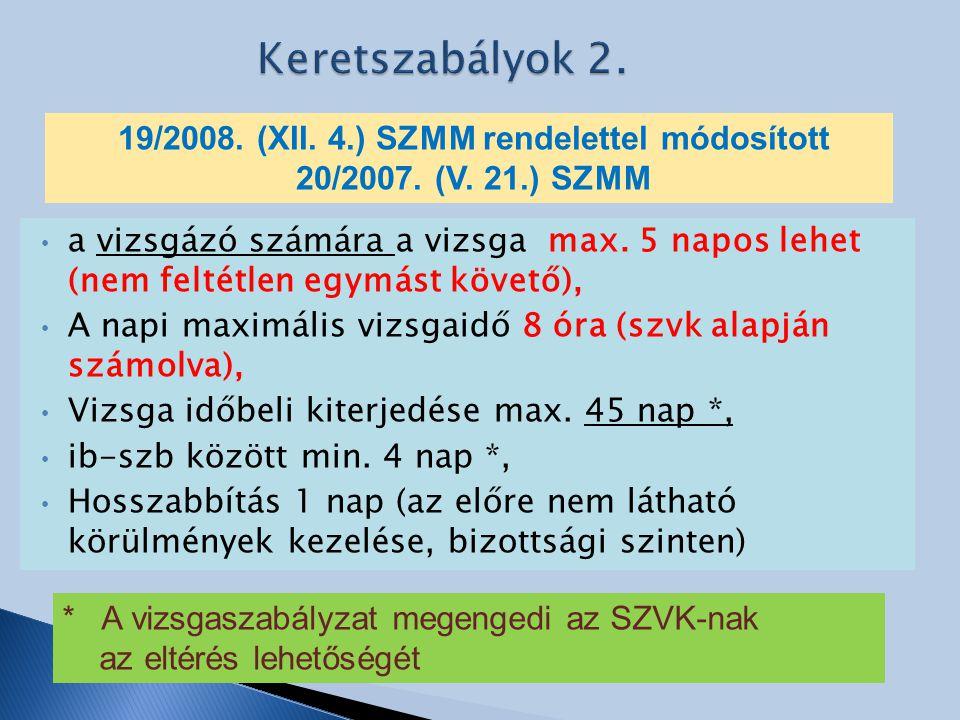 19/2008. (XII. 4.) SZMM rendelettel módosított
