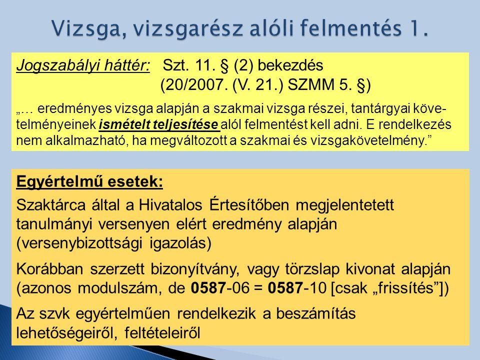 Vizsga, vizsgarész alóli felmentés 1.