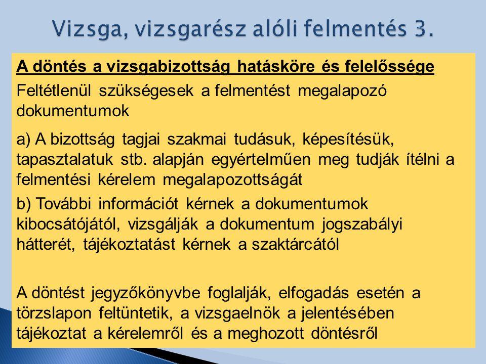 Vizsga, vizsgarész alóli felmentés 3.