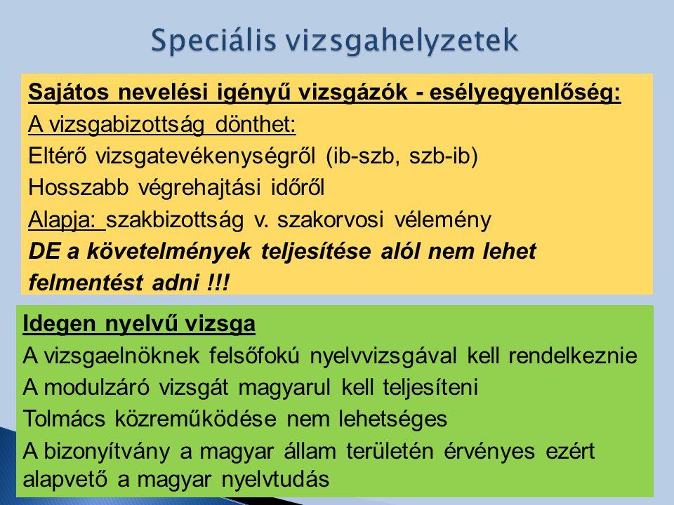 Speciális vizsgahelyzetek
