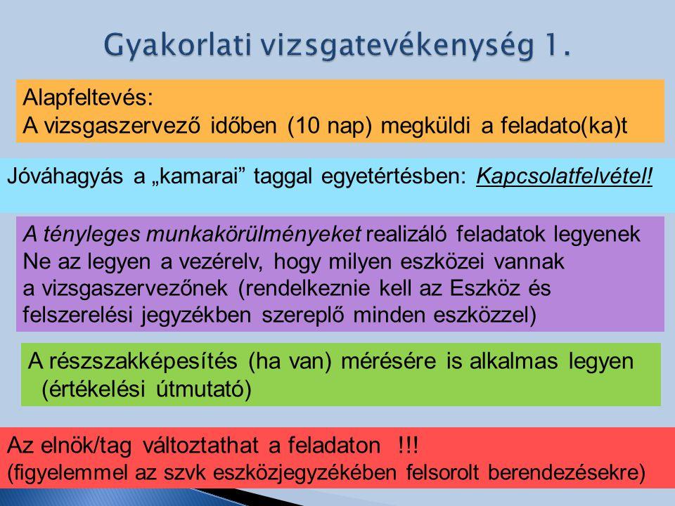 Gyakorlati vizsgatevékenység 1.