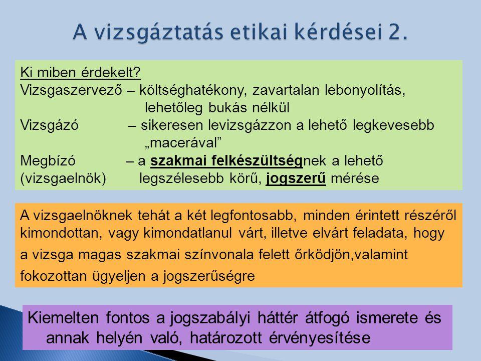 A vizsgáztatás etikai kérdései 2.