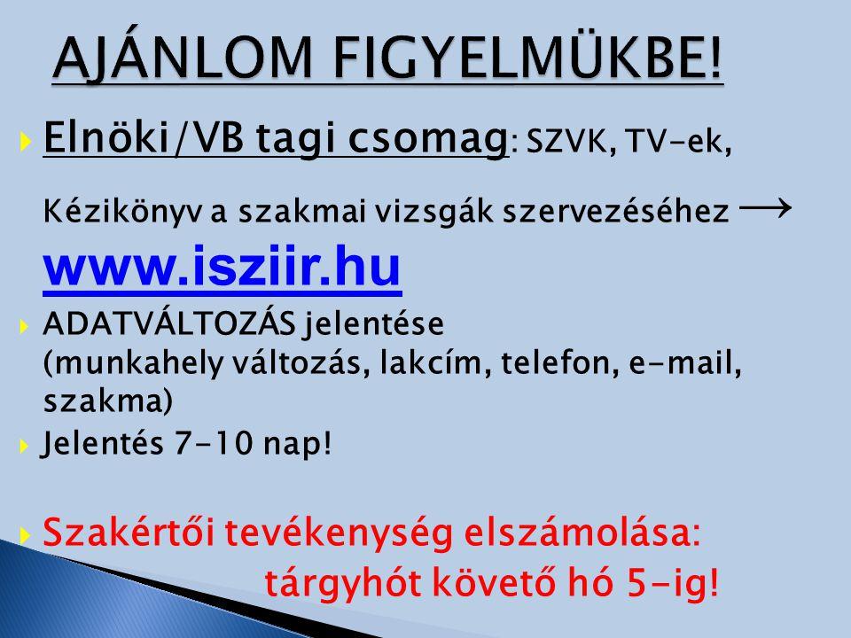 AJÁNLOM FIGYELMÜKBE! Elnöki/VB tagi csomag: SZVK, TV-ek, Kézikönyv a szakmai vizsgák szervezéséhez → www.isziir.hu.