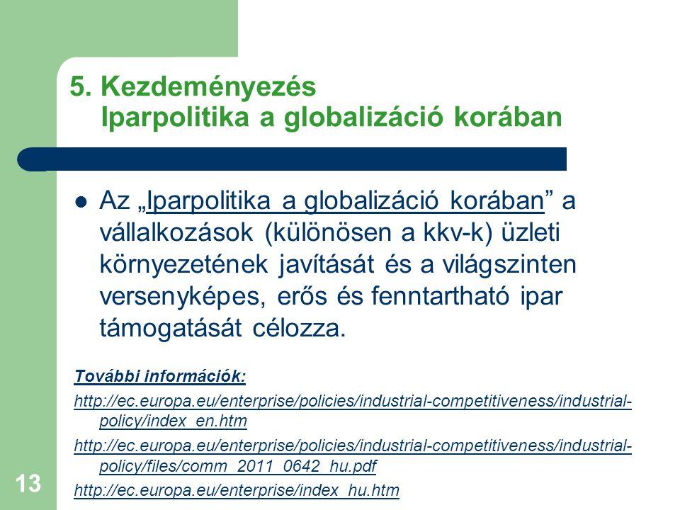 5. Kezdeményezés Iparpolitika a globalizáció korában