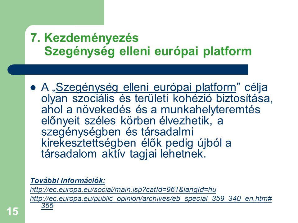 7. Kezdeményezés Szegénység elleni európai platform