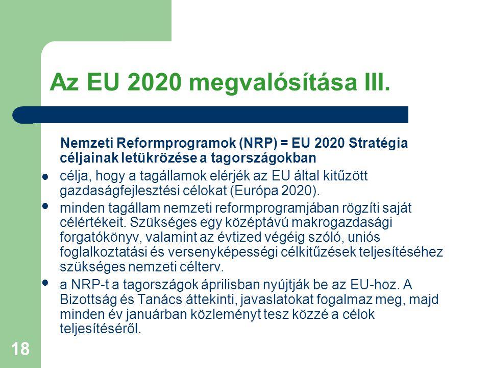 Az EU 2020 megvalósítása III.