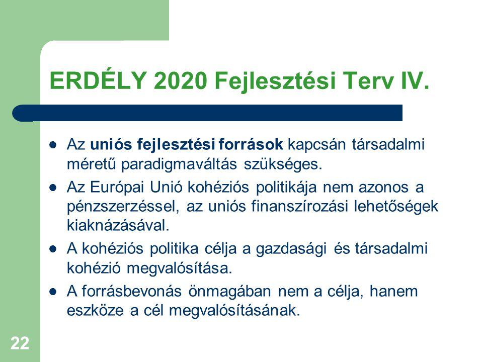 ERDÉLY 2020 Fejlesztési Terv IV.