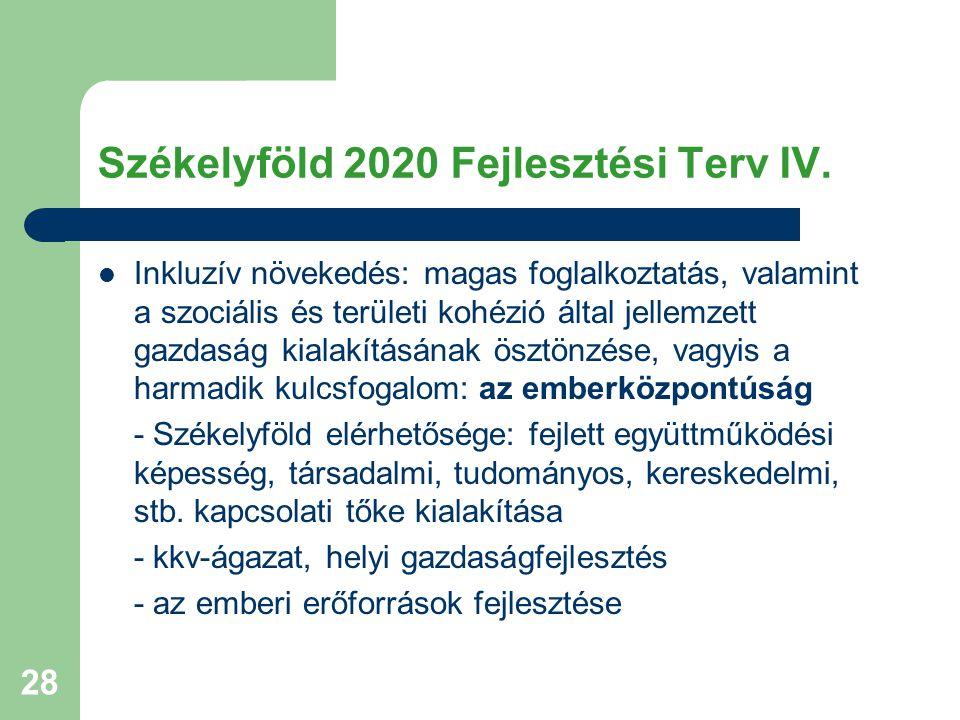 Székelyföld 2020 Fejlesztési Terv IV.