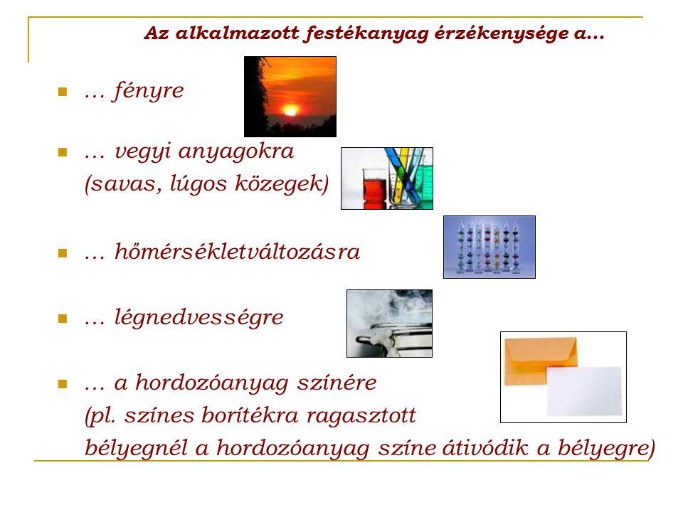 … hőmérsékletváltozásra … légnedvességre … a hordozóanyag színére