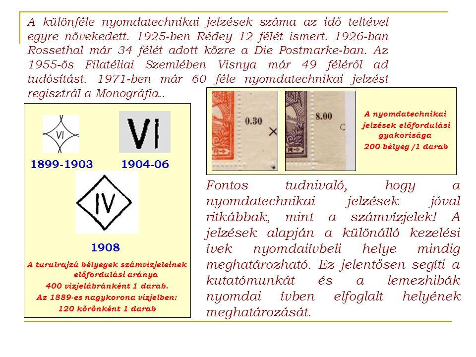 A különféle nyomdatechnikai jelzések száma az idő teltével egyre növekedett. 1925-ben Rédey 12 félét ismert. 1926-ban Rossethal már 34 félét adott közre a Die Postmarke-ban. Az 1955-ös Filatéliai Szemlében Visnya már 49 féléről ad tudósítást. 1971-ben már 60 féle nyomdatechnikai jelzést regisztrál a Monográfia..