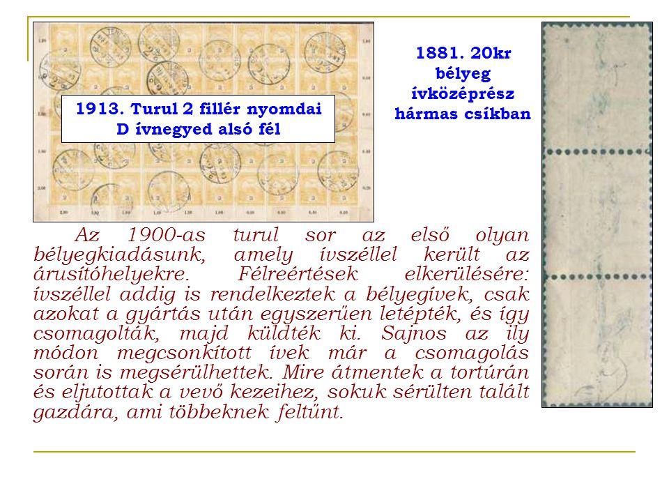 1881. 20kr bélyeg ívközéprész hármas csíkban