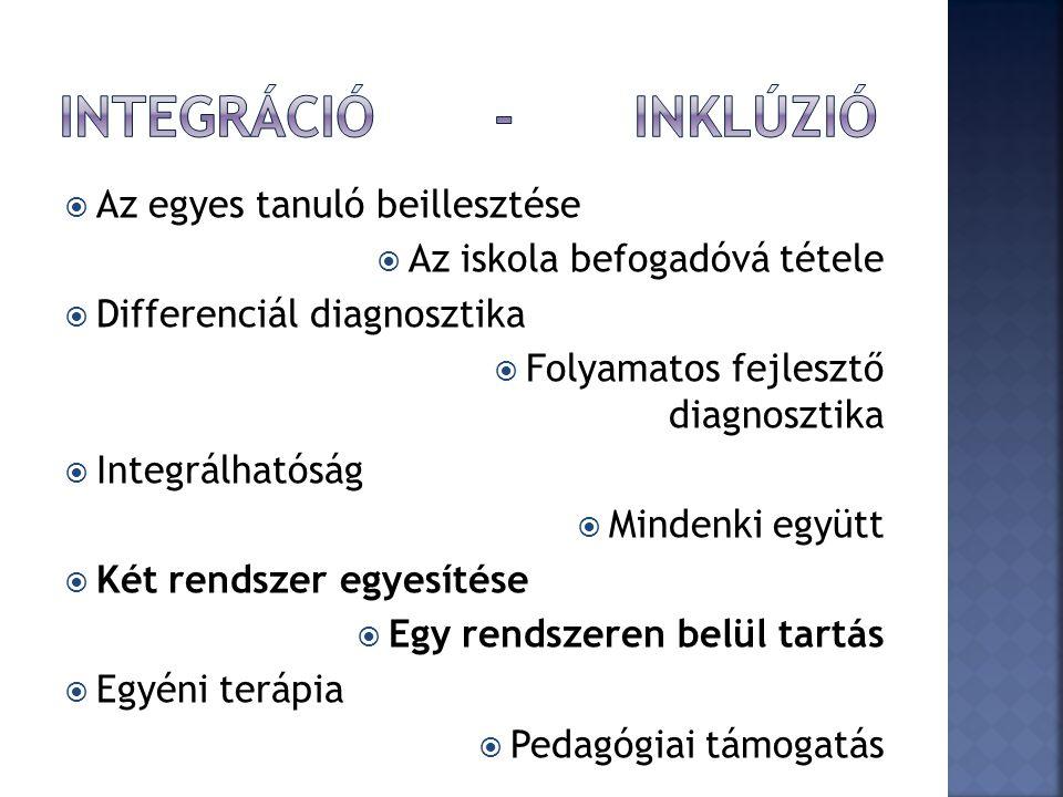 Integráció - INKLÚZIÓ Az egyes tanuló beillesztése