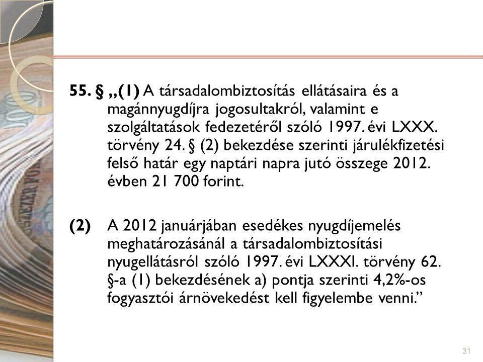 """55. § """"(1) A társadalombiztosítás ellátásaira és a magánnyugdíjra jogosultakról, valamint e szolgáltatások fedezetéről szóló 1997. évi LXXX. törvény 24. § (2) bekezdése szerinti járulékfizetési felső határ egy naptári napra jutó összege 2012. évben 21 700 forint."""