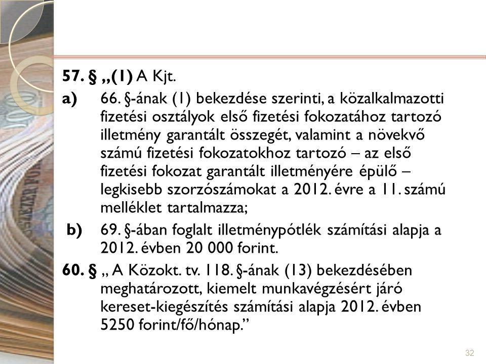 """57. § """"(1) A Kjt. a) 66."""
