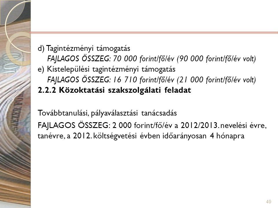 d) Tagintézményi támogatás FAJLAGOS ÖSSZEG: 70 000 forint/fő/év (90 000 forint/fő/év volt) e) Kistelepülési tagintézményi támogatás FAJLAGOS ÖSSZEG: 16 710 forint/fő/év (21 000 forint/fő/év volt) 2.2.2 Közoktatási szakszolgálati feladat Továbbtanulási, pályaválasztási tanácsadás FAJLAGOS ÖSSZEG: 2 000 forint/fő/év a 2012/2013.