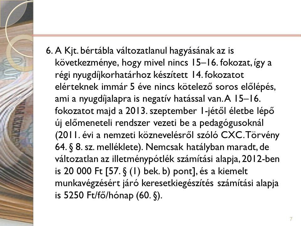 6. A Kjt. bértábla változatlanul hagyásának az is következménye, hogy mivel nincs 15–16.