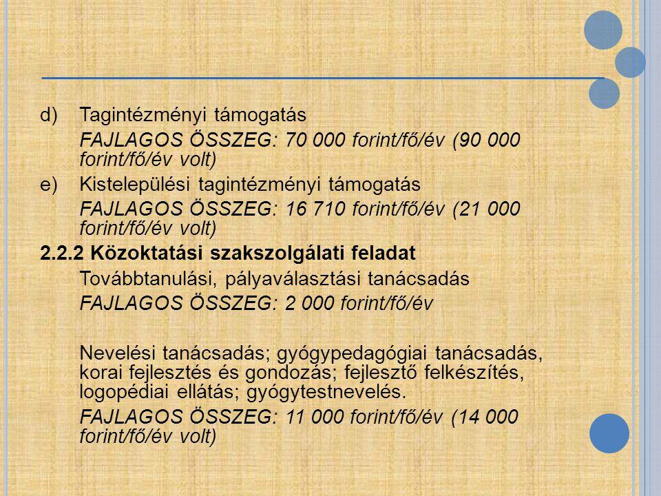 d) Tagintézményi támogatás FAJLAGOS ÖSSZEG: 70 000 forint/fő/év (90 000 forint/fő/év volt) e) Kistelepülési tagintézményi támogatás FAJLAGOS ÖSSZEG: 16 710 forint/fő/év (21 000 forint/fő/év volt) 2.2.2 Közoktatási szakszolgálati feladat Továbbtanulási, pályaválasztási tanácsadás FAJLAGOS ÖSSZEG: 2 000 forint/fő/év Nevelési tanácsadás; gyógypedagógiai tanácsadás, korai fejlesztés és gondozás; fejlesztő felkészítés, logopédiai ellátás; gyógytestnevelés.