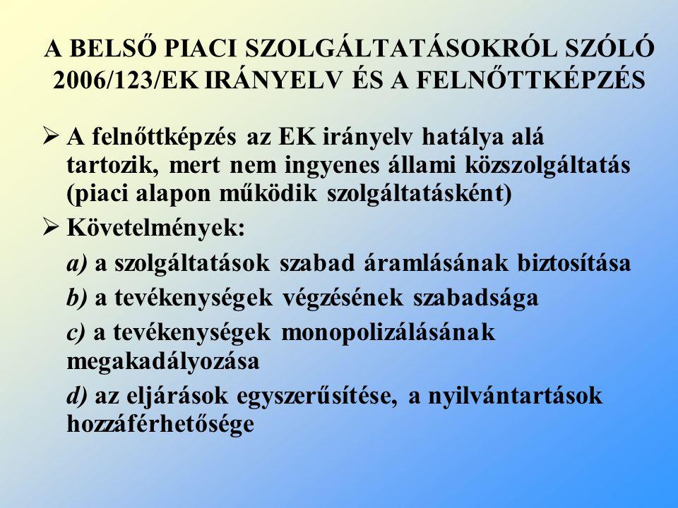 A BELSŐ PIACI SZOLGÁLTATÁSOKRÓL SZÓLÓ 2006/123/EK IRÁNYELV ÉS A FELNŐTTKÉPZÉS